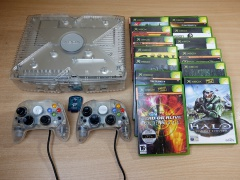 Xbox Crystal Console + 15 Games