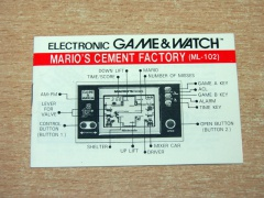 Mario's Cement Factory Game & Watch Manual