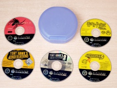 ** Collection of Gamecube games and Case